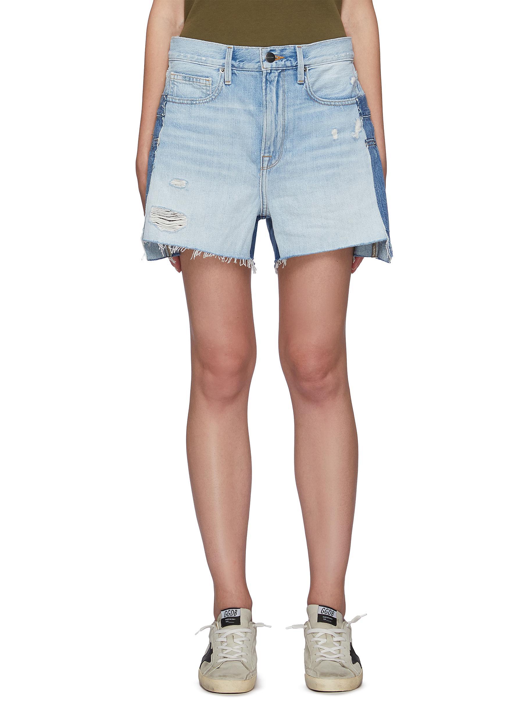 Layered Raw Hem Denim Shorts