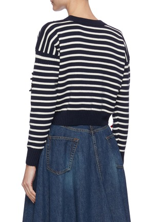 Back View - Click To Enlarge - ALEXANDER MCQUEEN - Embroidered patch stripe sweater