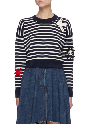 Main View - Click To Enlarge - ALEXANDER MCQUEEN - Embroidered patch stripe sweater