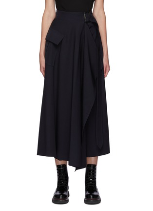 Main View - Click To Enlarge - ALEXANDER MCQUEEN - Belted drape military skirt