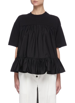 Main View - Click To Enlarge - ALEXANDER MCQUEEN - Gathered tier cotton T-shirt