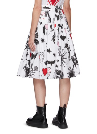 Back View - Click To Enlarge - ALEXANDER MCQUEEN - Papercut print pleated A-line midi skirt