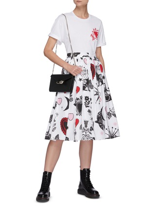 Figure View - Click To Enlarge - ALEXANDER MCQUEEN - Papercut print pleated A-line midi skirt