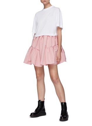 Figure View - Click To Enlarge - ALEXANDER MCQUEEN - Crew neck ruffle skirt dress