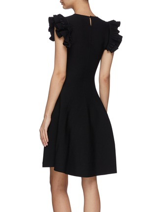 Back View - Click To Enlarge - ALEXANDER MCQUEEN - Ruffle sleeve mini dress