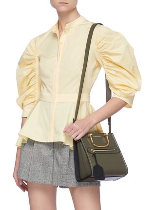 Front View - Click To Enlarge - ALEXANDER MCQUEEN - 'The Short Story' Metal Handle Leather Tote