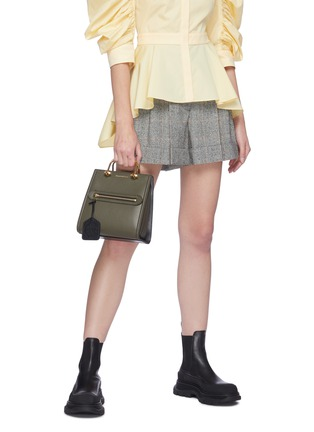 Figure View - Click To Enlarge - ALEXANDER MCQUEEN - 'The Short Story' Metal Handle Leather Tote