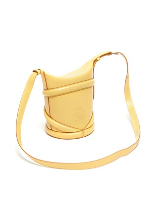 Detail View - Click To Enlarge - ALEXANDER MCQUEEN - 'The Curve' Crisscross Detail Small Leather Bucket Tote
