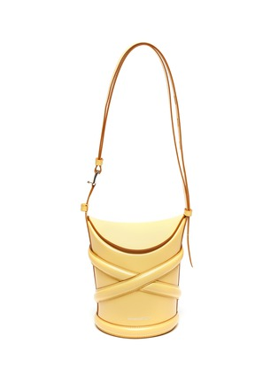 Main View - Click To Enlarge - ALEXANDER MCQUEEN - 'The Curve' Crisscross Detail Small Leather Bucket Tote