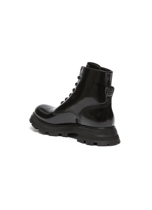 - ALEXANDER MCQUEEN - 'Wonder' Curved Toe Tread Sole Leather Lace-up Boots