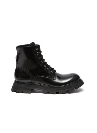 Main View - Click To Enlarge - ALEXANDER MCQUEEN - 'Wonder' Curved Toe Tread Sole Leather Lace-up Boots