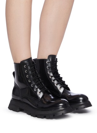 Figure View - Click To Enlarge - ALEXANDER MCQUEEN - 'Wonder' Curved Toe Tread Sole Leather Lace-up Boots