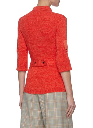 Back View - Click To Enlarge - VICTORIA BECKHAM - Belted Cotton Rib Knit Polo Shirt