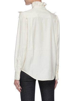 Back View - Click To Enlarge - VICTORIA BECKHAM - Ruffle Detail Button Down Silk Blouse