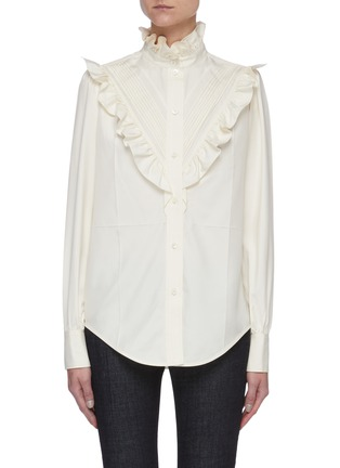 Main View - Click To Enlarge - VICTORIA BECKHAM - Ruffle Detail Button Down Silk Blouse