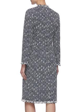 Back View - Click To Enlarge - OSCAR DE LA RENTA - Fringe Edge Woven Tweed Coat