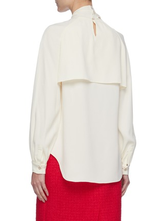 Back View - Click To Enlarge - OSCAR DE LA RENTA - Collar Scarf Detail Tie Front Blouse