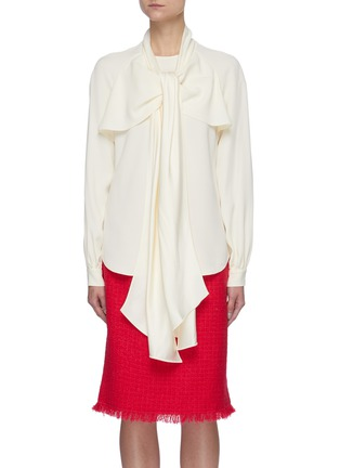 Main View - Click To Enlarge - OSCAR DE LA RENTA - Collar Scarf Detail Tie Front Blouse