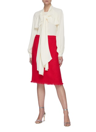 Figure View - Click To Enlarge - OSCAR DE LA RENTA - Collar Scarf Detail Tie Front Blouse