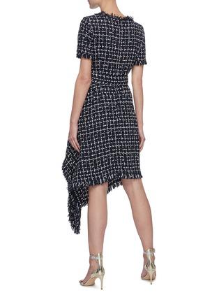 Back View - Click To Enlarge - OSCAR DE LA RENTA - Belted Asymmetric Drape Hem Check Tweed Dress