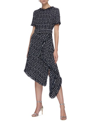 Figure View - Click To Enlarge - OSCAR DE LA RENTA - Belted Asymmetric Drape Hem Check Tweed Dress