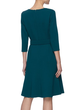Back View - Click To Enlarge - OSCAR DE LA RENTA - Belted Mid-sleeve Ruffled Hem Dress
