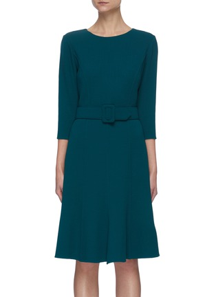 Main View - Click To Enlarge - OSCAR DE LA RENTA - Belted Mid-sleeve Ruffled Hem Dress