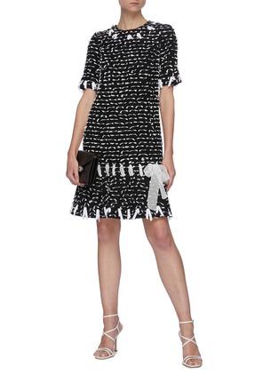 Figure View - Click To Enlarge - OSCAR DE LA RENTA - All-over Laced Ribbon Detail A-line Dress
