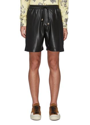 Main View - Click To Enlarge - NANUSHKA - Doxxi' Vegan Leather Drawstring Waist Shorts