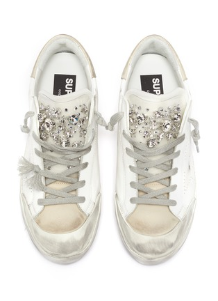 Detail View - Click To Enlarge - GOLDEN GOOSE - 'Super-star' Strass Embellished Tongue Distressed Leather Sneakers
