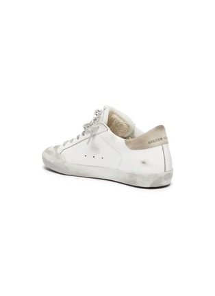 - GOLDEN GOOSE - 'Super-star' Strass Embellished Tongue Distressed Leather Sneakers