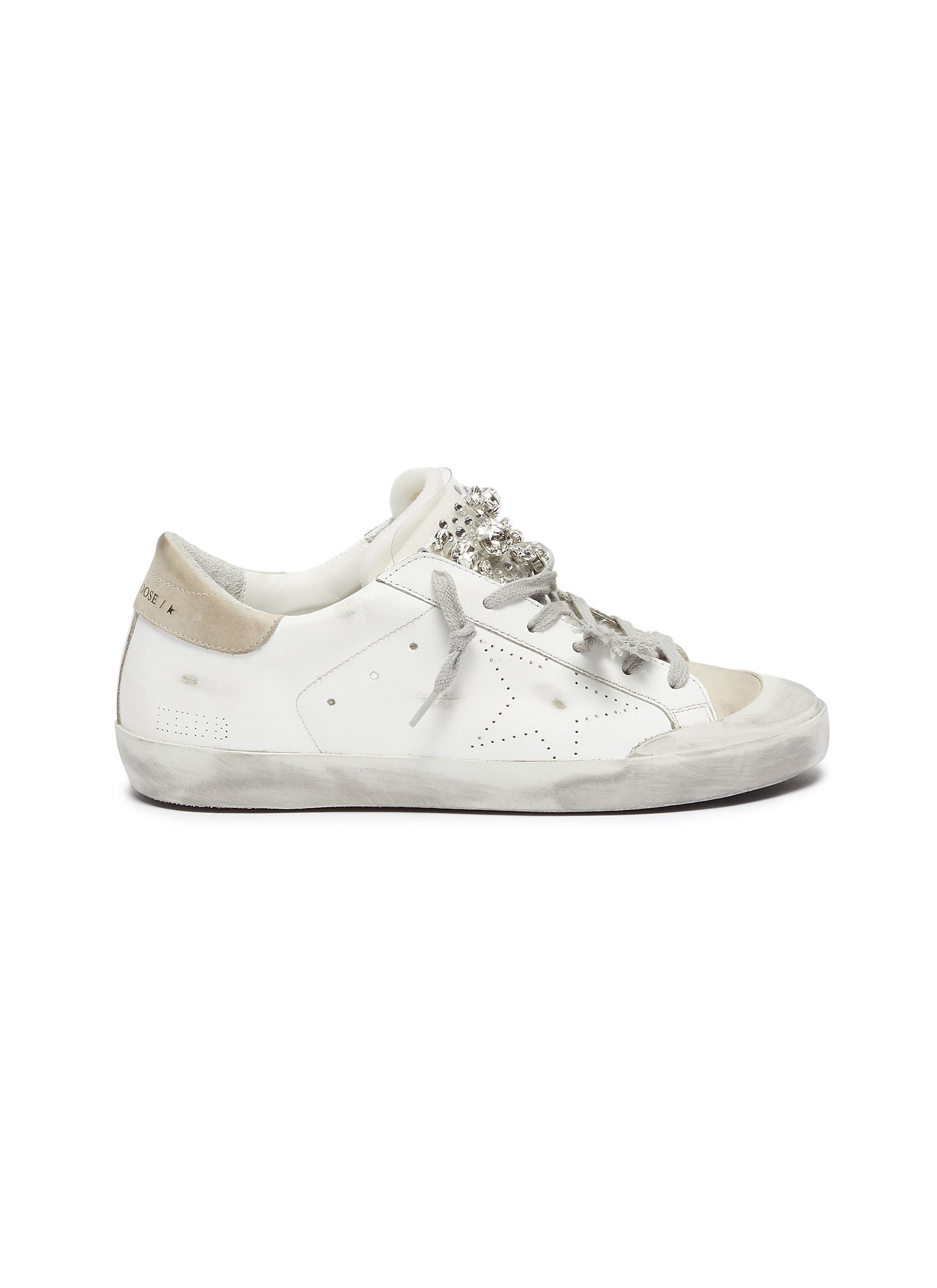 'Super-star' Strass Embellished Tongue Distressed Leather Sneakers