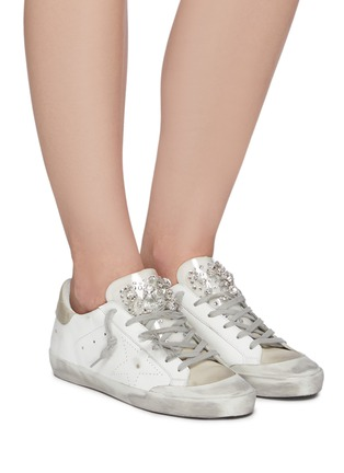 Figure View - Click To Enlarge - GOLDEN GOOSE - 'Super-star' Strass Embellished Tongue Distressed Leather Sneakers
