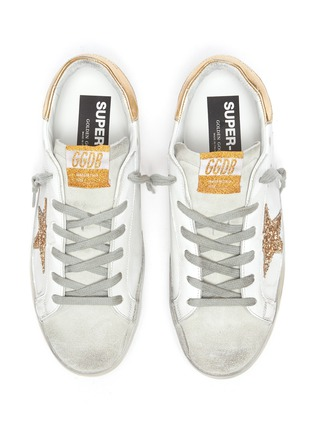 Detail View - Click To Enlarge - GOLDEN GOOSE - 'Super-Star' Metallic Accent Distressed Leather Sneakers