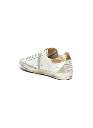 - GOLDEN GOOSE - 'Super-Star' Metallic Accent Distressed Leather Sneakers