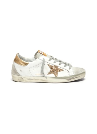 Main View - Click To Enlarge - GOLDEN GOOSE - 'Super-Star' Metallic Accent Distressed Leather Sneakers