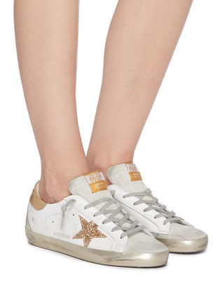 Figure View - Click To Enlarge - GOLDEN GOOSE - 'Super-Star' Metallic Accent Distressed Leather Sneakers
