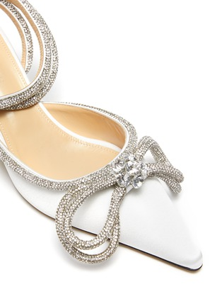 Detail View - Click To Enlarge - MACH & MACH - Crystal Embellished Bow Anklet Satin Pumps