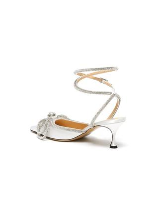 - MACH & MACH - Crystal Embellished Bow Anklet Satin Pumps