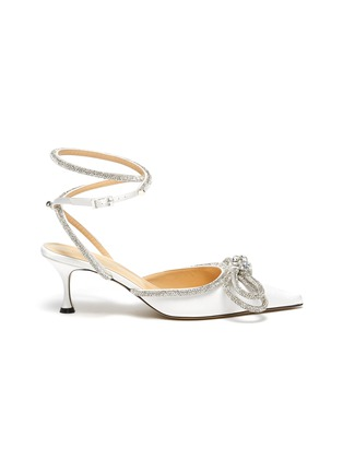 Main View - Click To Enlarge - MACH & MACH - Crystal Embellished Bow Anklet Satin Pumps