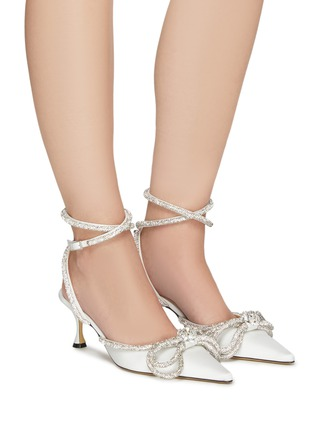 Figure View - Click To Enlarge - MACH & MACH - Crystal Embellished Bow Anklet Satin Pumps