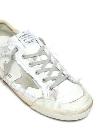 Detail View - Click To Enlarge - GOLDEN GOOSE - Superstar' deconstructed lace-up sneakers