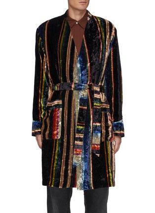 Main View - Click To Enlarge - TOGA VIRILIS - Striped Velvet Dressing Gown Coat