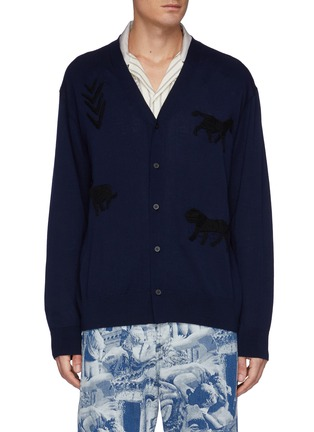 Main View - Click To Enlarge - TOGA VIRILIS - Animal Embroidery High Gauge Knit Cardigan