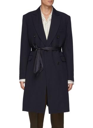 Main View - Click To Enlarge - TOGA VIRILIS - Belted Layered Back Hem Double Breasted Gabardine Coat