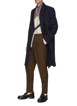 Figure View - Click To Enlarge - TOGA VIRILIS - Belted Layered Back Hem Double Breasted Gabardine Coat