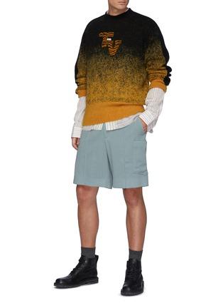 Figure View - Click To Enlarge - TOGA VIRILIS - Graduation' Side Stripe Ombré Wool Blend Jumper