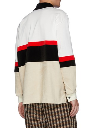 Back View - Click To Enlarge - TOGA VIRILIS - Fake Suede Jersey Half Zip Pullover