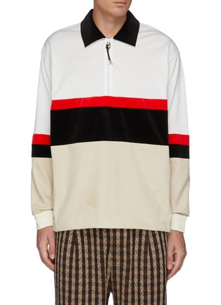 Main View - Click To Enlarge - TOGA VIRILIS - Fake Suede Jersey Half Zip Pullover