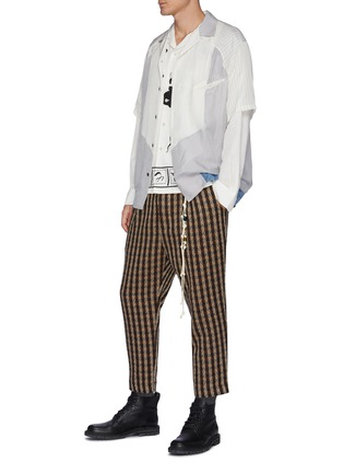 Figure View - Click To Enlarge - TOGA VIRILIS - Deconstructed Striped Short Sleeved Shirt